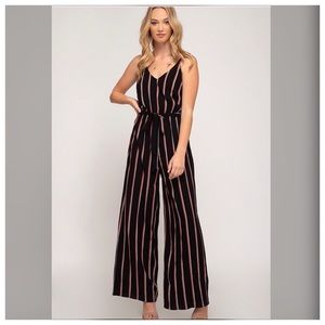 Striped Wide Leg Woven Cami Jumpsuit